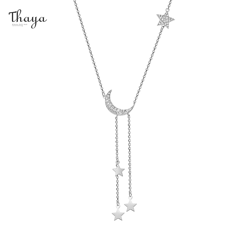 Moon & Star Drop Chain Necklace