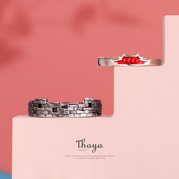 Silver Red Crystal & Fort Ring Set