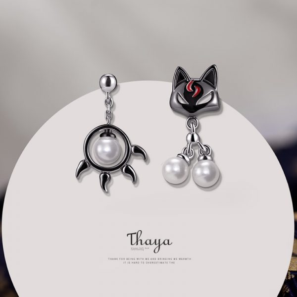 Black Cat & Paw Drop Pearl Earring