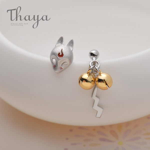 Fox Stud Golden Bell Earrings
