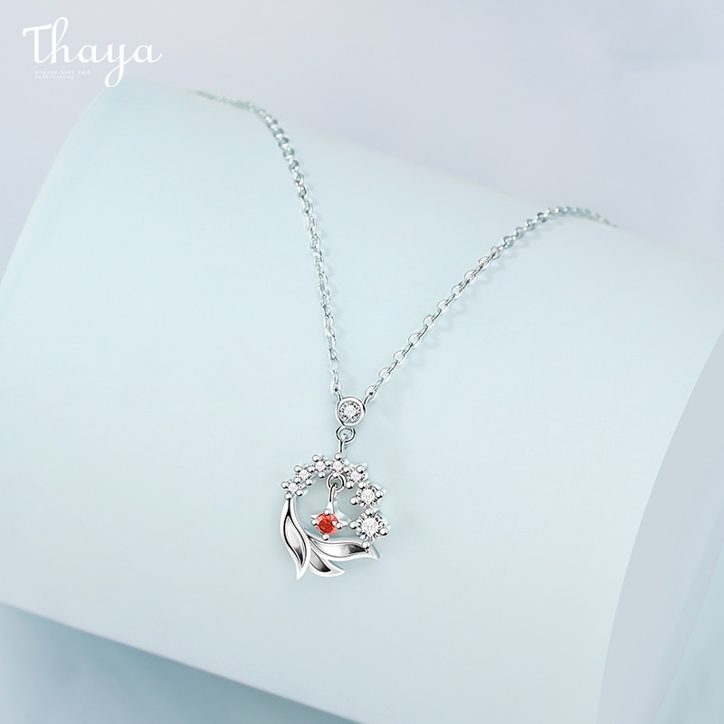 Red Crystal Sterling Silver Pendant Necklace