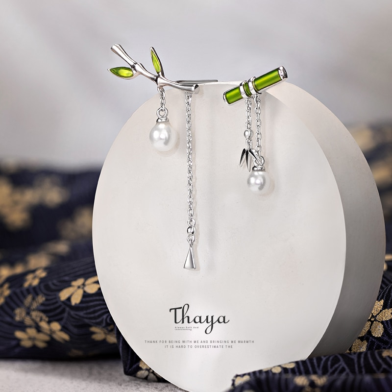Green Bamboo Pearl Drop Earrings