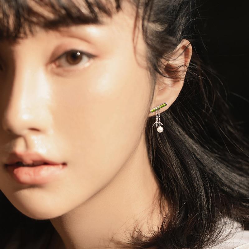 Green Bamboo Pearl Drop Earrings