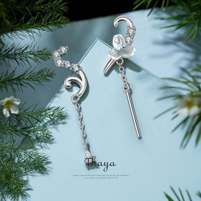 Crystal Shell Flower Stud Earrings