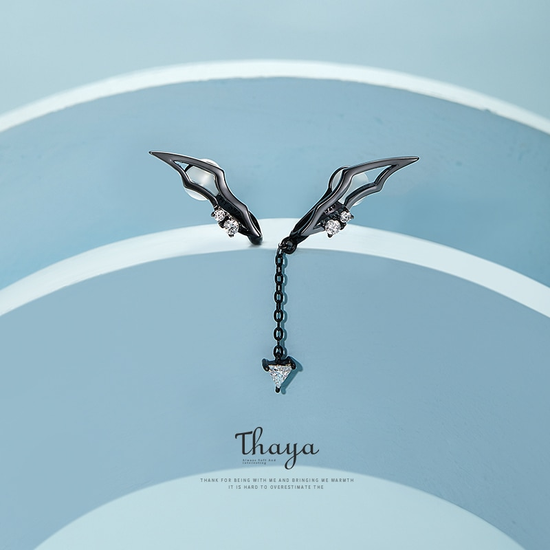 Black Wings Clip-On Earrings