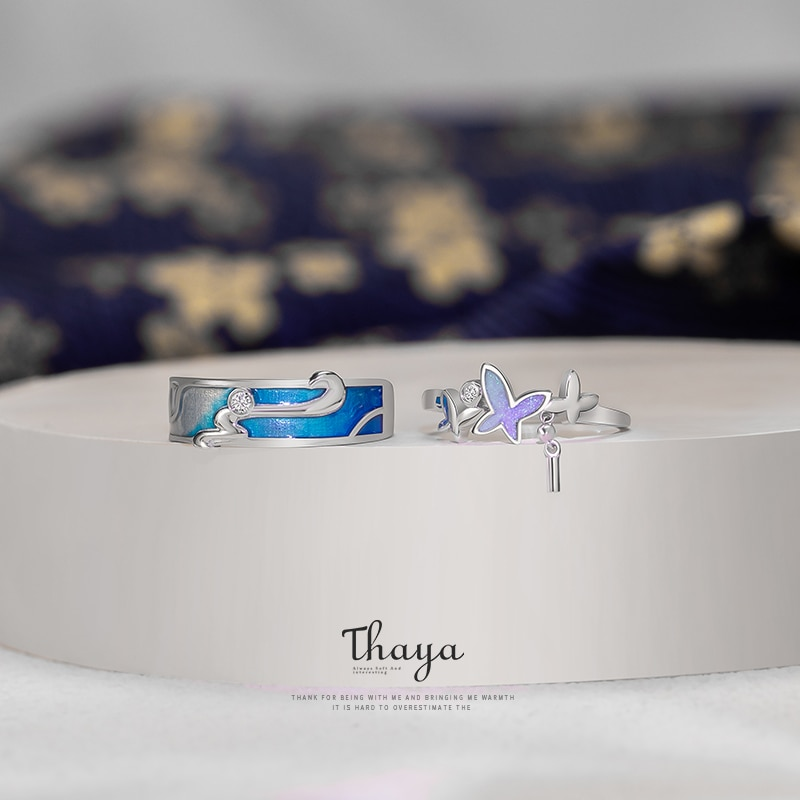 Authentic Silver Blue Drop Rings