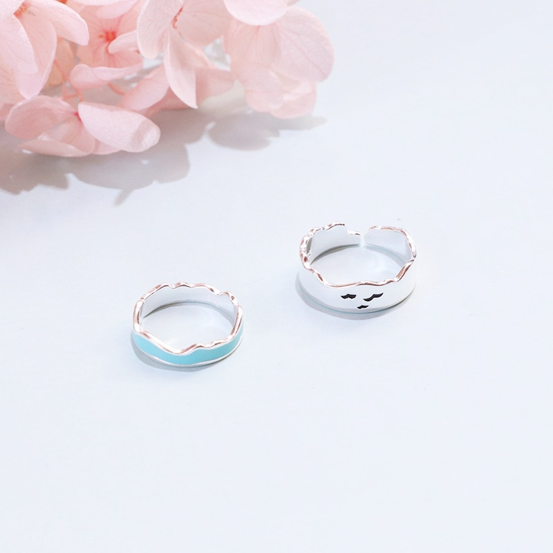 Seagull and Ocean Waves Enamel Couple Ring Set