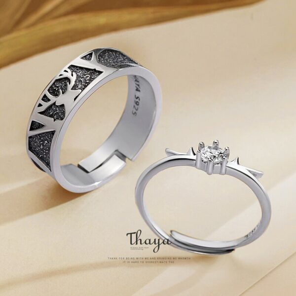 Black Little Deer Crown Couple Ring