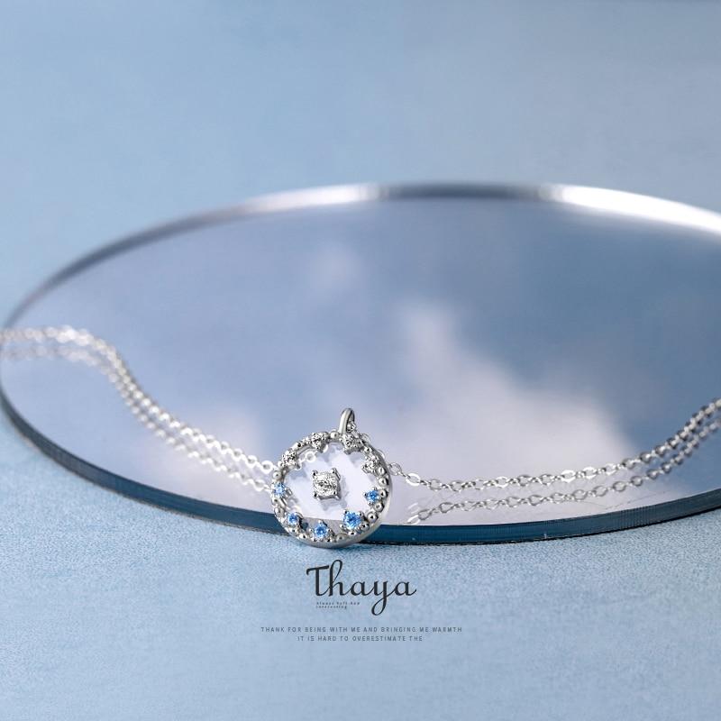 Transparent Blue Pendant Chain Necklace