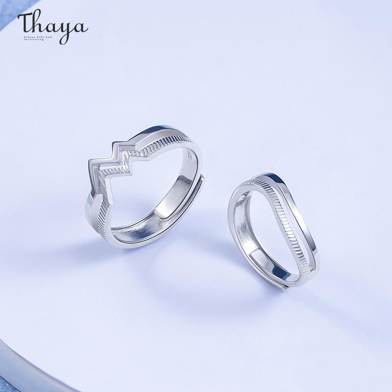 Heart Ripple Couple Rings