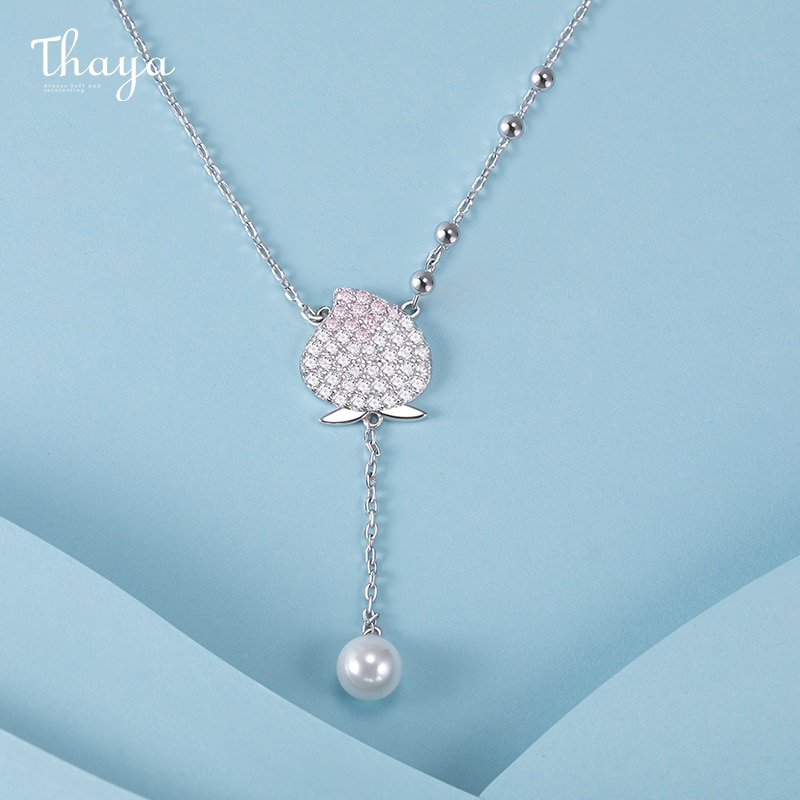 Peach and Pearl Necklace
