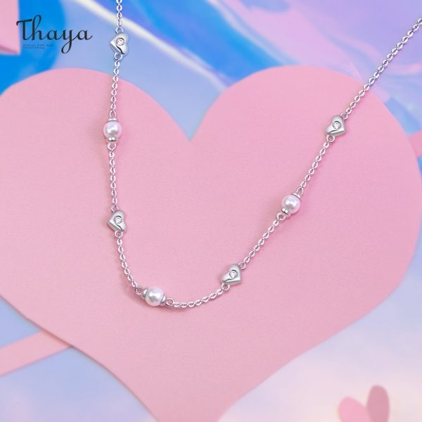Tiny Hearts and Pearl Necklace