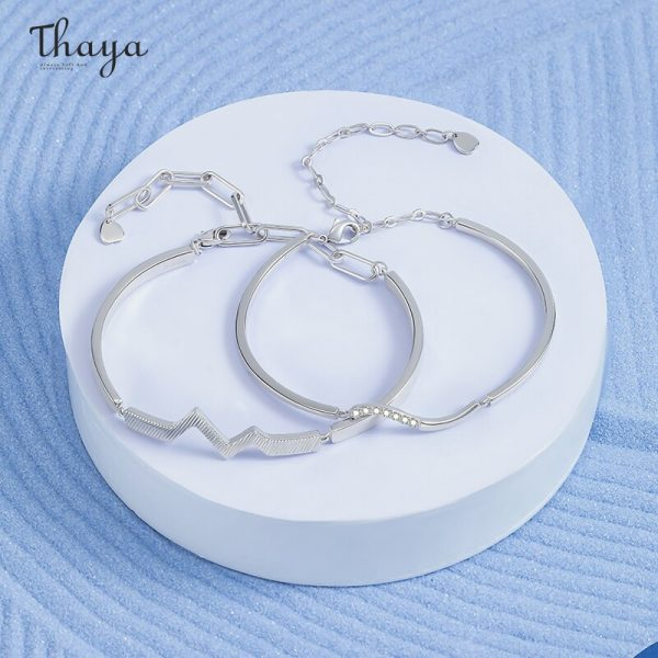 Ripple in Heart Couple Bracelet